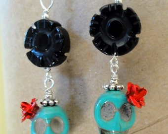 Dia de los Muertos Earrings - Turquoise Skull w/ Red Flower & Black Onyx