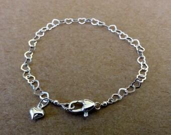 Sterling Silver LOVE Bracelet - Heart Bracelet