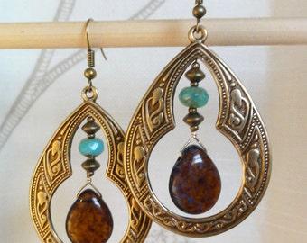 Antique Brass Earrings - Moroccan Flair w/ Dark Smoky Topaz Drop, Aqua Glass & Antique Brass Accents