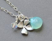 Aqua Blue Neckkace, Silver Flower Necklace, Bridesmaid Jewelry, Aqua Chalcedony Pendant Necklace,  Sterling Silver Chain