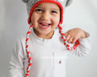 Sock monkey hat, Baby Hat, Toddler Hat, Toddler Halloween costume, Baby Halloween costume, Toddler Winter hat, Christmas hat