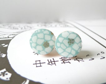Snow Ear Studs, White Earrings, Mint Earrings, Winter Colors, Japanese Chiyogami Paper, Gift for Her