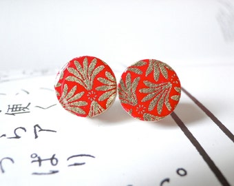 Red Ear Studs, Red earrings, Gold, Golden, Japanese Chiyogami paper, Small Earrings, Gift for her