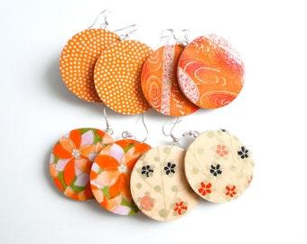 Orange Earrings, Large Dangles, Japanese Paper Earrings, Chiyogami earrings, MADE TO ORDER, Tangerine Earrings, October Finds