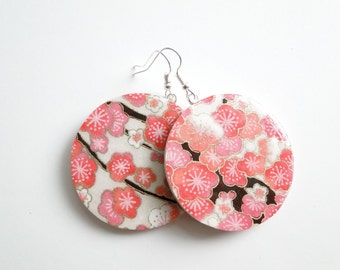 Red Earrings Japanese Paper and Wood Large Dangles