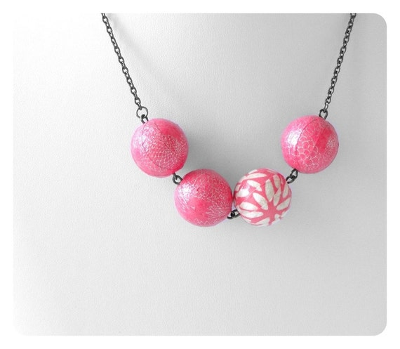Pink necklace, Handmade beads, statement piece, pretty neckline, Japanese Chiyogami Paper beads, GIFT UNDER 30, For Her