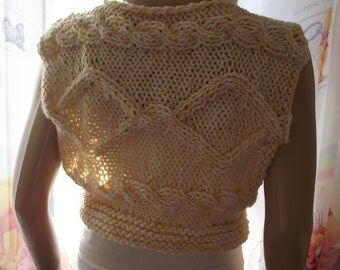 Twin Diamonds - Hand Knit Sweater / CABLE KNIT Sweater / Sleeveless / Short Sweater / Bateau Neck Sweater / Hand Knit Top / Custom Order