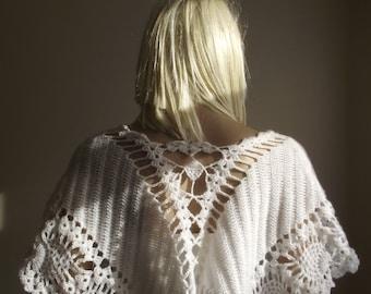 Crochet Shawl / Wedding Shawl / Wedding Capelet / Bridal Capelet / Crochet Neck Warmer / Versatile Shawl / Pearl Beads / 50% OFF !!!