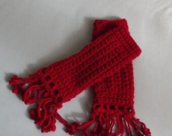 Woman in Red Gloves - Crochet Gloves / Fingerless Gloves / Crochet Hand Warmers / Crochet Wrist Warmer / Flower Fringes / 50% OFF !!!