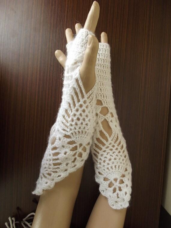 Beauty - Wedding GLOVES / Bridal Gloves / Crochet Gloves / Fingerless Gloves / LONG Gloves / Crochet Arm Warmers / 50 % OFF !!!