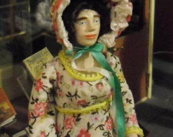 Dollhouse Doll, 12th scale Regency Lady in Cotton Dress.