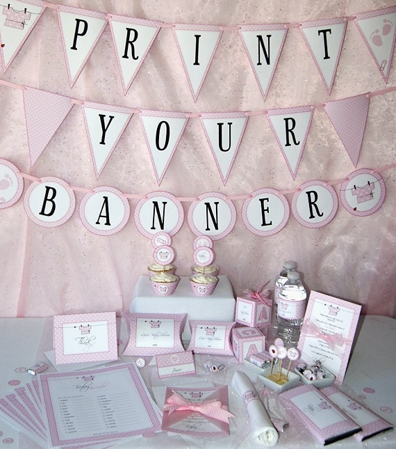 Baby Shower Printables Baby Girl Pink DIY Party Supplies