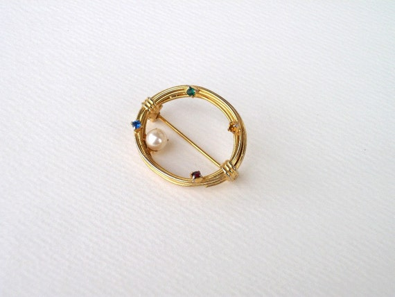 Vintage Gold Oval Rope Brooch, Rhinestones and Pearl Pin, Gold Rhinestone Collar Brooch, 60's Jewelry,  Mid Century