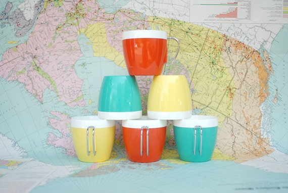 Vintage Insulated Plastic Mugs - Six Yellow, Orange, and Blue NFC Cups