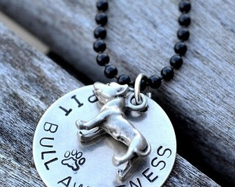 Pit Bull Awareness Handstamped Necklace