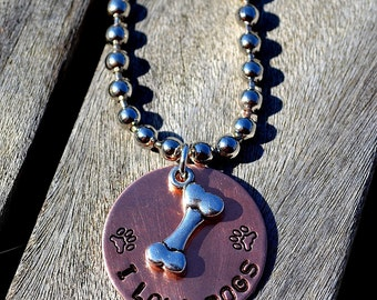 I Love Dogs Handstamped Necklace