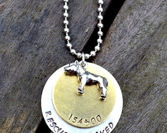 Rescued & Loved Personalized Handstamped Necklace