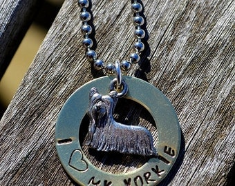 I Love My Yorkie Handstamped Necklace