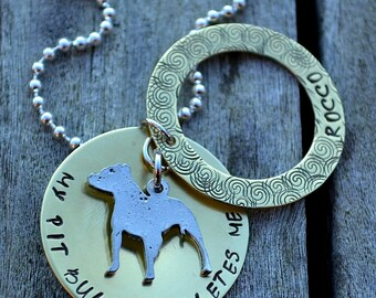 My Pit Bull Completes Me Handstamped Personalized Secret Message Necklace