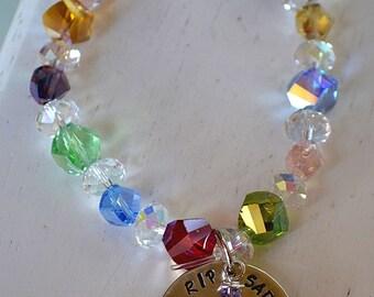 Rainbow Bridge Personalized Handstamped Memorial Stretch Bracelet