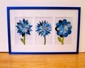 Paper Flower Collage, Multi-Flower Blue Frame