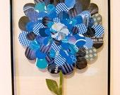 Blue Paper Collage Flower, 11x14