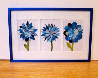 Paper Flower Collage, Multi-Flower Blue Frame