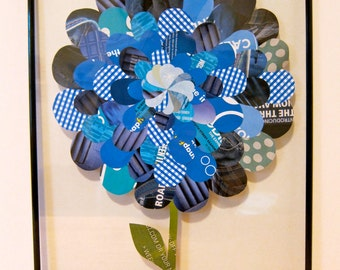Blue Paper Collage Flower, 11x14