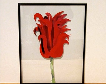Magazine Art, Paper Collage Flower, Red Tulip, 11x14 Frame