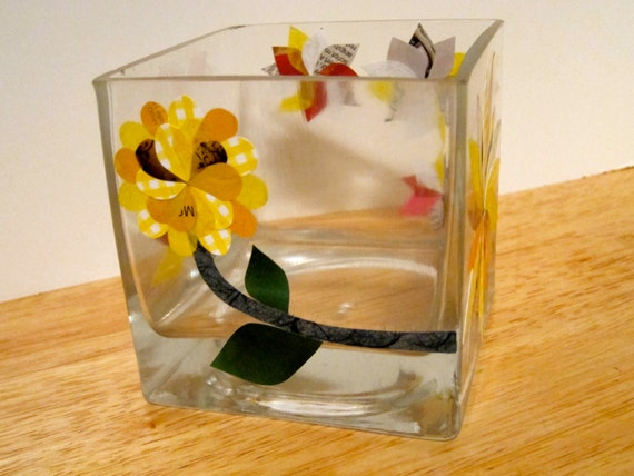 Glass Cube Vase,  Yellow Decoupage Collage Magazine Paper Flowers