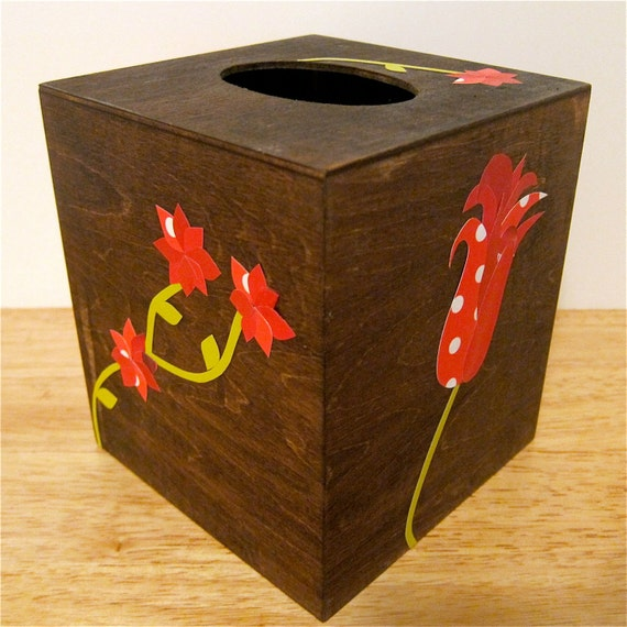 Tissue Box Cover, Wood with Paper Decoupage Flower Collages, Red, Dark FInish