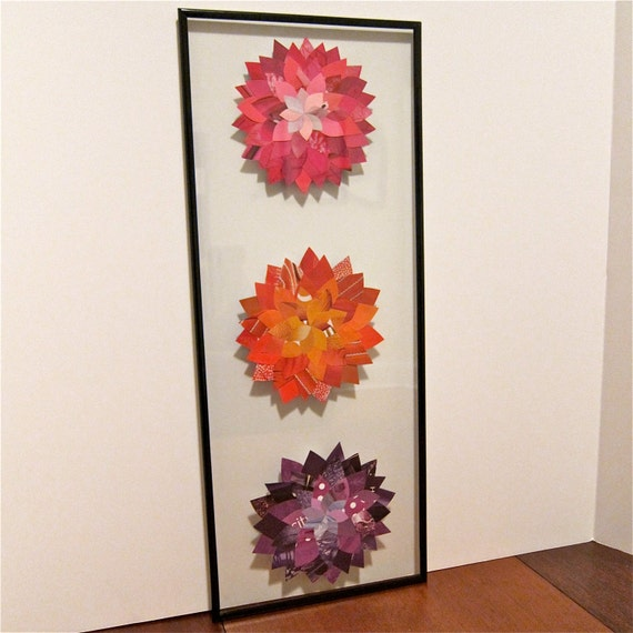 Paper Collage, Multi-Flower, Upcycled Magazine, 8x20 Frame
