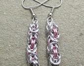 Chain Maille Earrings, Pink Earrings, Byzantine Earrings, Pastel Jewelry, Jump Ring Jewelry