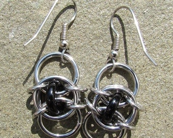 Chain Maille Earrings, Black Earrings, Glass Earrings, Black Jewelry, Glass Jewelry