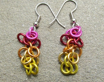 Chain Maille Earrings, Shaggy Loops Earrings, Multicolor Earrings, Lightweight Jewelry, Jump Ring Jewelry