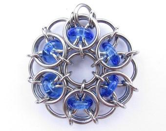 Glass Pendant, Blue Pendant, Chain Maille Pendant, Blue Glass and Stainless Steel Pendant, Glass Jewelry