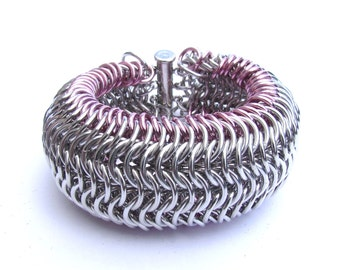 Chain Maille Bracelet, Wide Cuff, Pastel Pink Bracelet, Jump Ring Bracelet, Cuff Bracelet