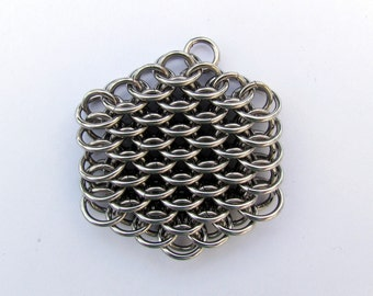 Stainless Steel Pendant, Chain Maille Pendant, Dragonscale Pendant, Jump Ring Jewelry