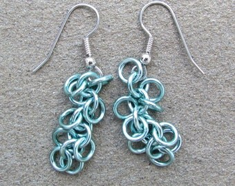 Chain Mail Earrings, Seafoam Green Earrings, Shaggy Loops, Green Jewelry, Pastel Earrings