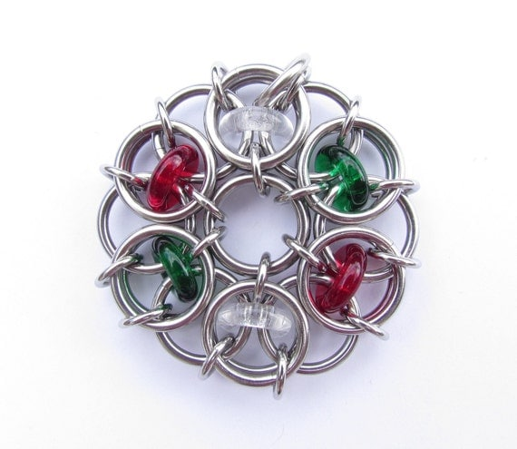 Christmas Jewelry, Chain Maille Pendant, Chain Mail Ornament, Glass Pendant, Glass Ornament