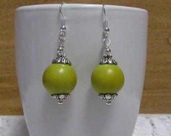 Jade Earrings Lime Green - Lime Green Earrings, Gemstone Earrings, Dangle Earrings, Beaded Earrings