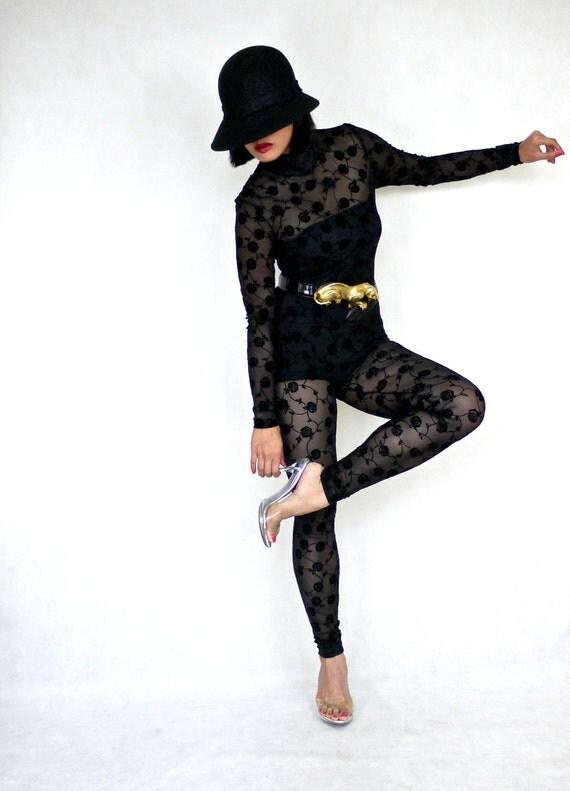 Vintage 1980s Lace Velvet Applique Jumpsuit
