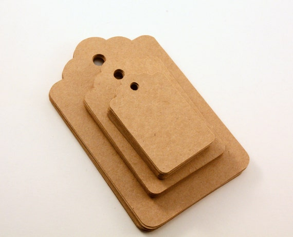 Brown Kraft tags - various sizes - scallop edge - 75 count