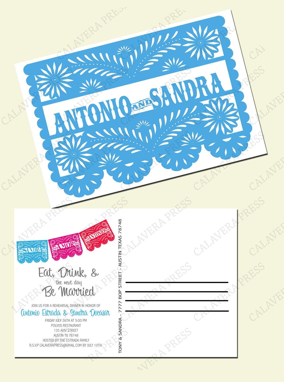Papel Picado Postcard Wedding Rehearsal Dinner Save the