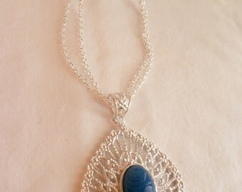 Silver Filigree Necklace with Blue Stone
