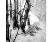 Original Drawing of Trees in Snow