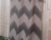 Burlap Zig Zag Curtains Beige & Chocolate 55in x 84in-108inL