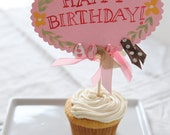 sweet pink birthday cake topper