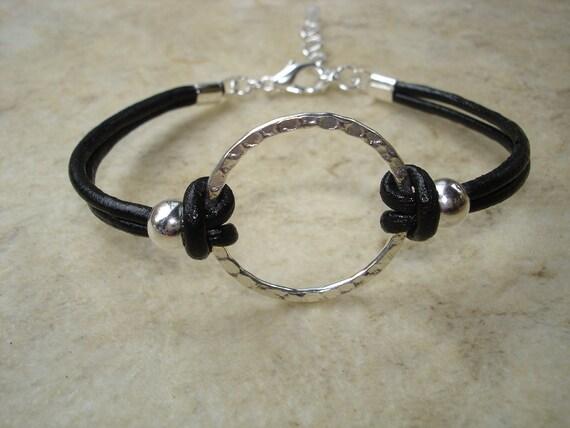 Karma Bracelet, Karma Jewelry, Leather Jewelry, Boho Jewelry, Black Bracelet, Red Bracelet, Navy Bracelet, Chocolate Brown Leather, Simple