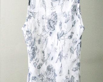 Mega-Sheer White Rose Print Sleeveless Shirt